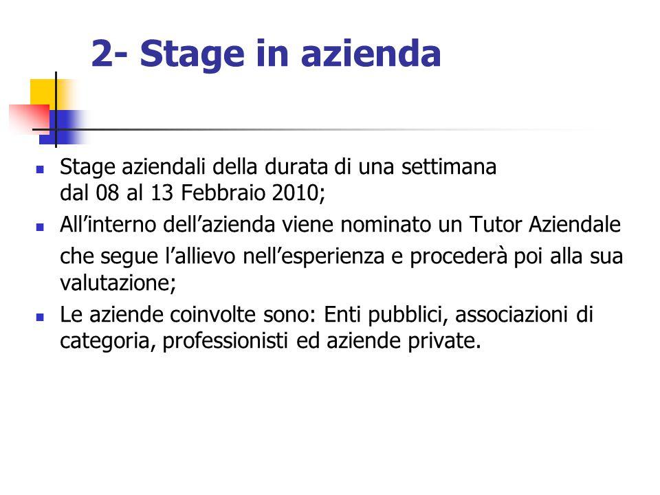 2- Stage in azienda Stage aziendali della durata di una settimana dal 08 al 13 Febbraio 2010;