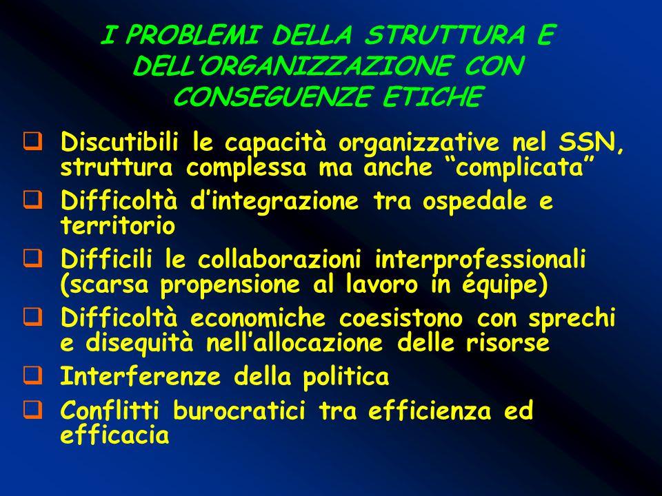 I PROBLEMI DELLA STRUTTURA E DELL'ORGANIZZAZIONE CON CONSEGUENZE ETICHE