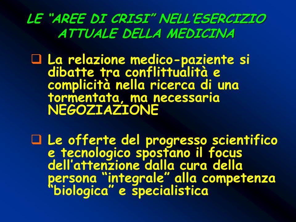 LE AREE DI CRISI NELL'ESERCIZIO ATTUALE DELLA MEDICINA