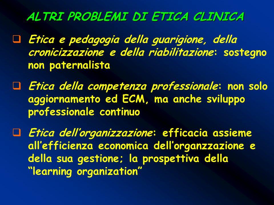 ALTRI PROBLEMI DI ETICA CLINICA