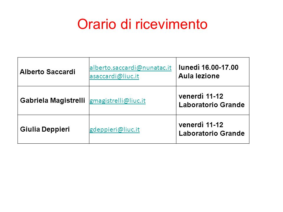 Orario di ricevimento Alberto Saccardi alberto.saccardi@nunatac.it