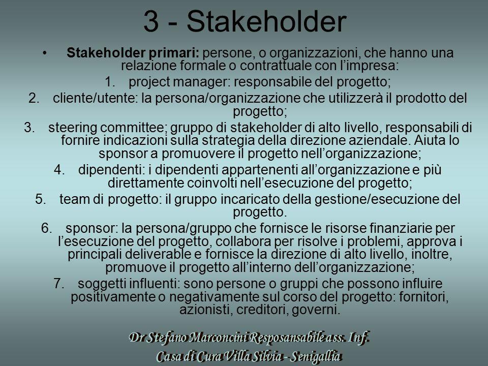 3 - Stakeholder Stakeholder primari: persone, o organizzazioni, che hanno una relazione formale o contrattuale con l'impresa: