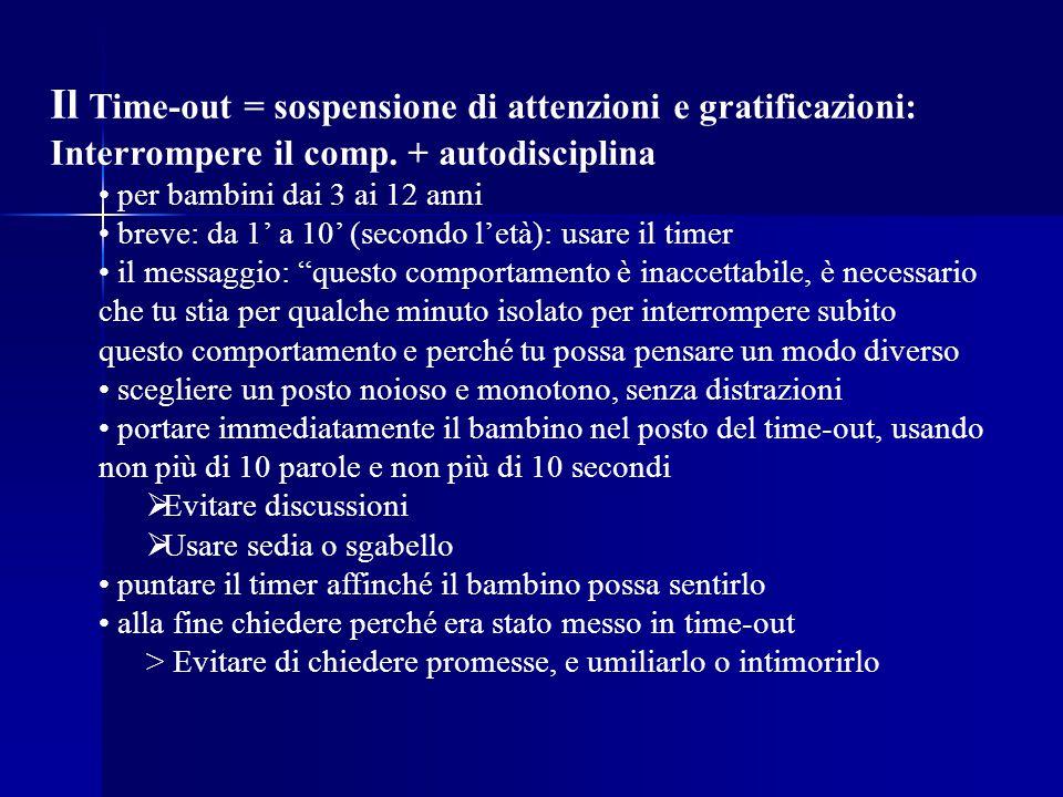 Il Time-out = sospensione di attenzioni e gratificazioni: Interrompere il comp. + autodisciplina