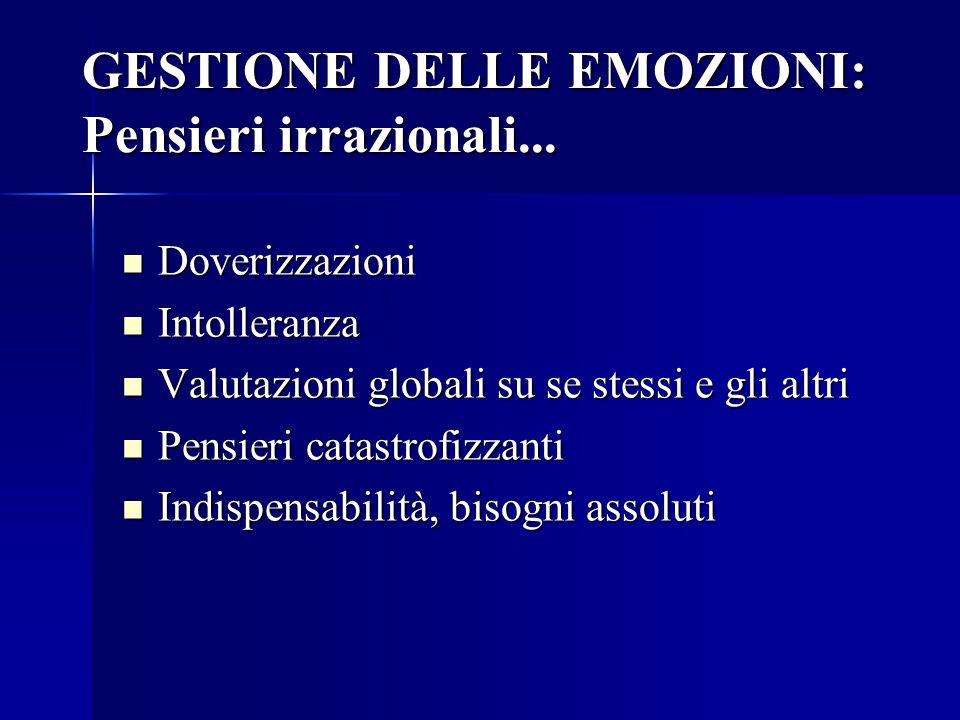 GESTIONE DELLE EMOZIONI: Pensieri irrazionali...