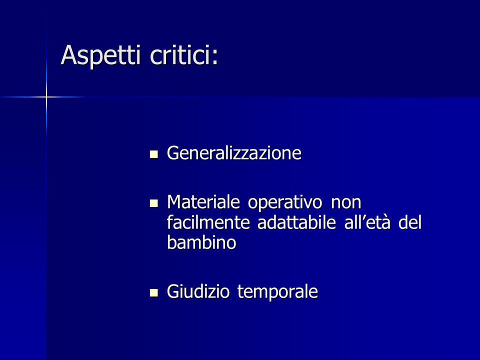 Aspetti critici: Generalizzazione