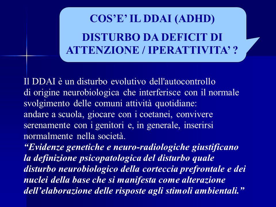 DISTURBO DA DEFICIT DI ATTENZIONE / IPERATTIVITA'