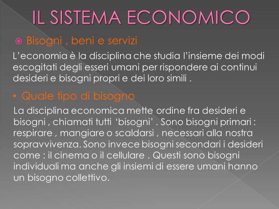 IL SISTEMA ECONOMICO Bisogni , beni e servizi Quale tipo di bisogno