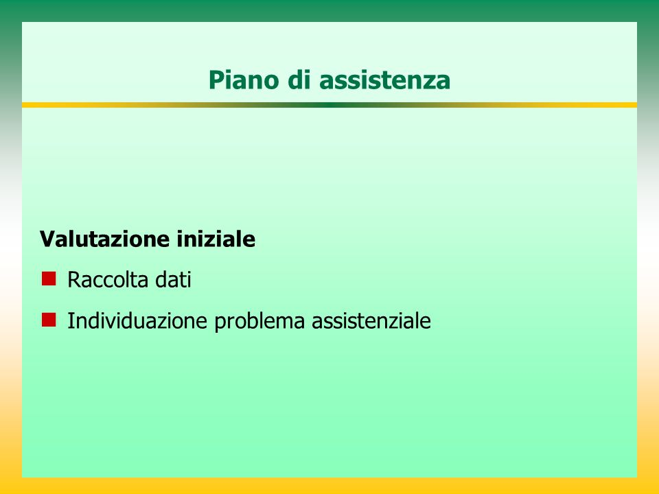 Piano di assistenza Valutazione iniziale Raccolta dati