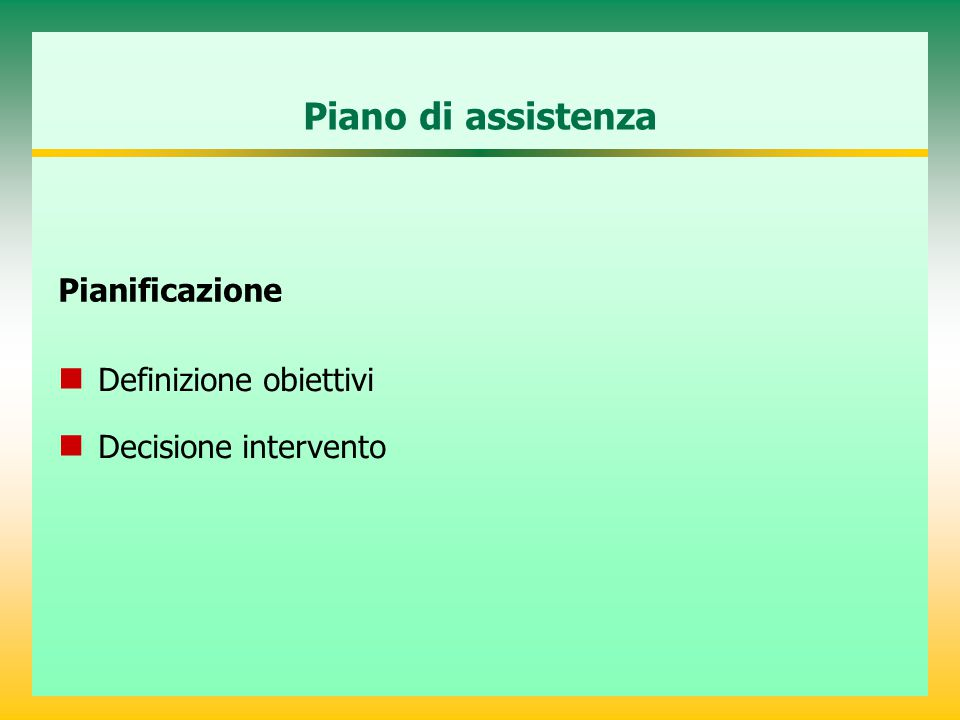 Piano di assistenza Pianificazione Definizione obiettivi