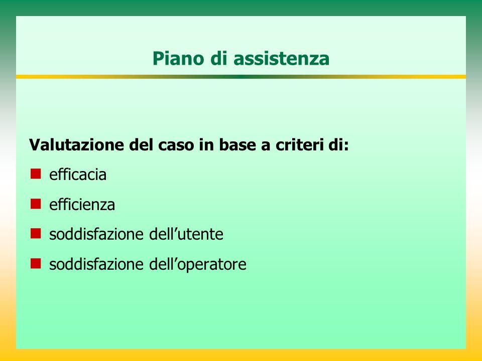 Piano di assistenza Valutazione del caso in base a criteri di: