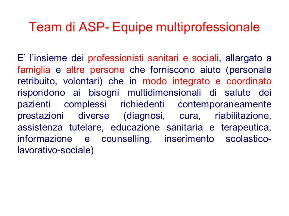Team di ASP- Equipe multiprofessionale