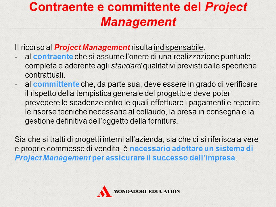 Contraente e committente del Project Management