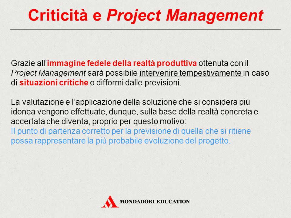 Criticità e Project Management