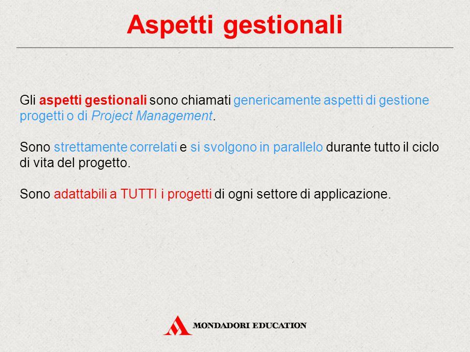 Aspetti gestionali Gli aspetti gestionali sono chiamati genericamente aspetti di gestione progetti o di Project Management.