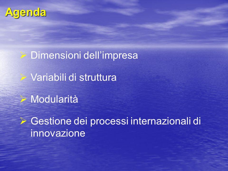 Agenda Dimensioni dell'impresa Variabili di struttura Modularità