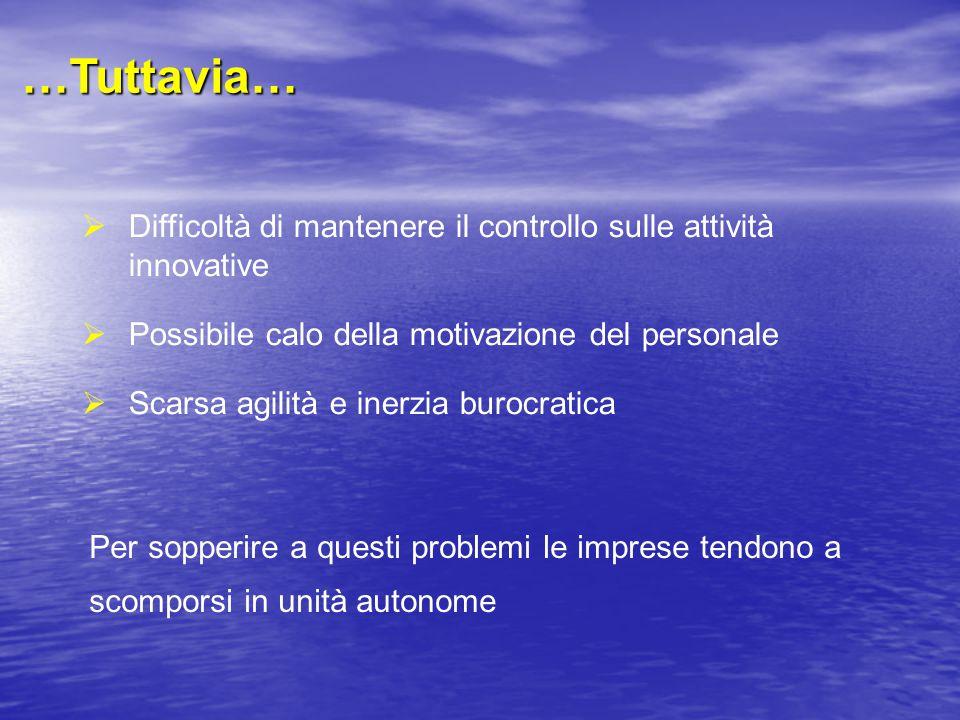 …Tuttavia… Difficoltà di mantenere il controllo sulle attività innovative. Possibile calo della motivazione del personale.