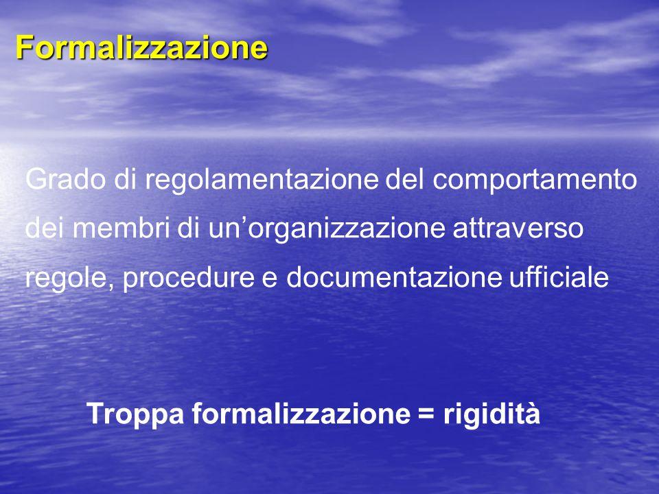 Troppa formalizzazione = rigidità