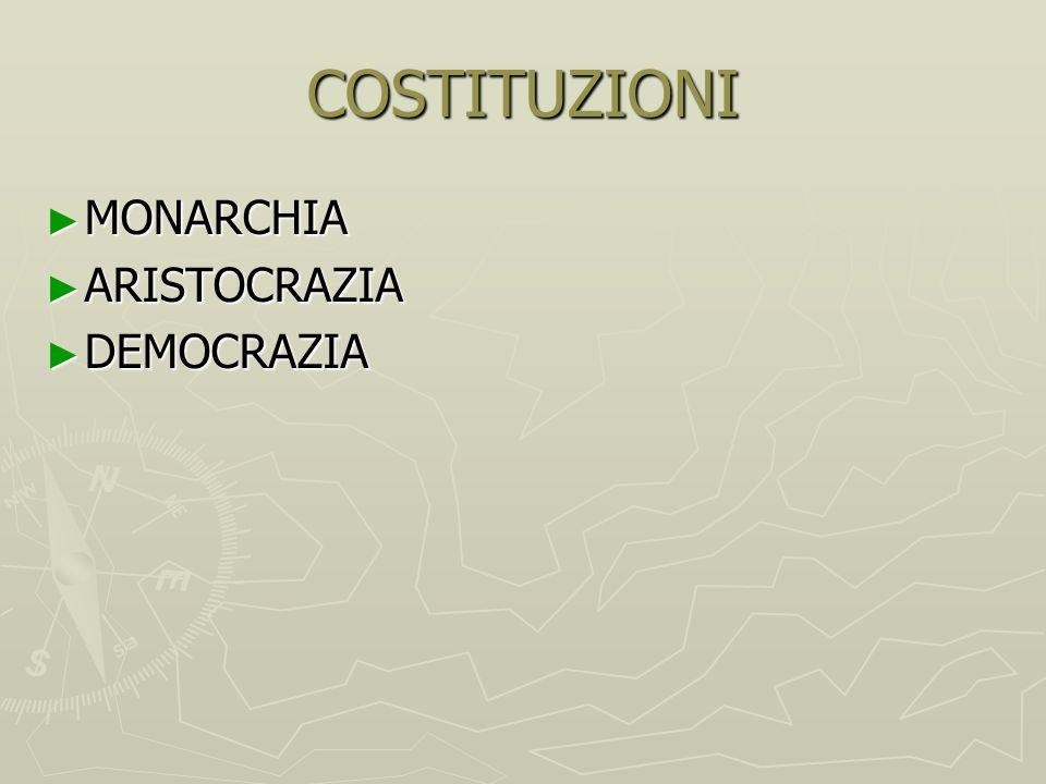 COSTITUZIONI MONARCHIA ARISTOCRAZIA DEMOCRAZIA
