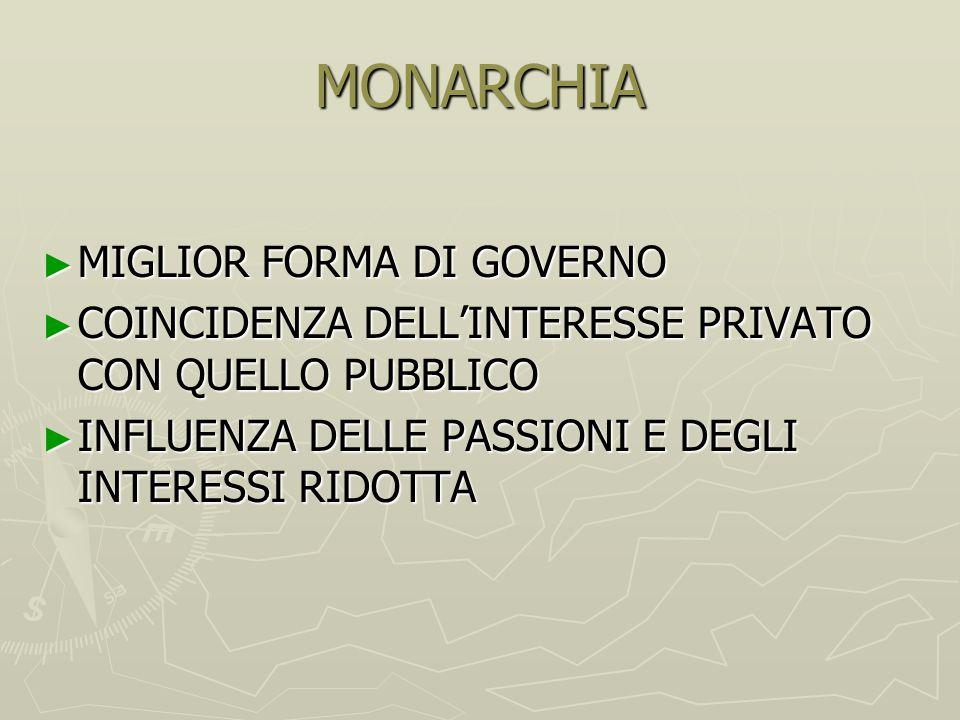 MONARCHIA MIGLIOR FORMA DI GOVERNO