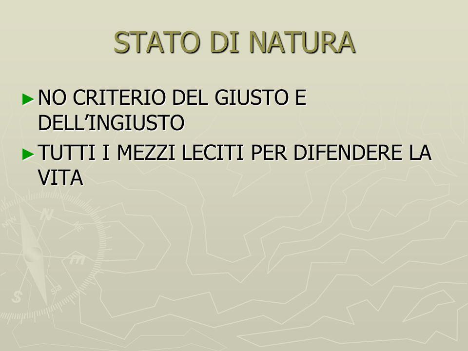 STATO DI NATURA NO CRITERIO DEL GIUSTO E DELL'INGIUSTO