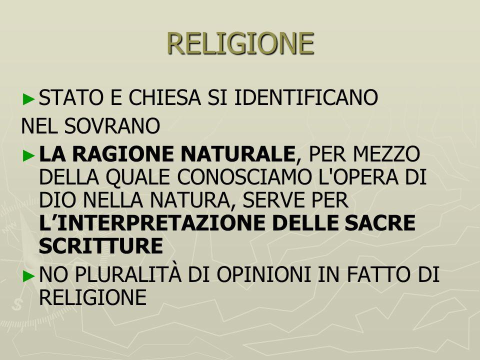 RELIGIONE STATO E CHIESA SI IDENTIFICANO NEL SOVRANO