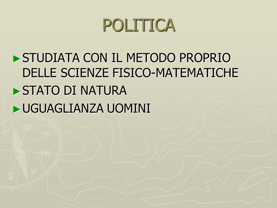 POLITICA STUDIATA CON IL METODO PROPRIO DELLE SCIENZE FISICO-MATEMATICHE.