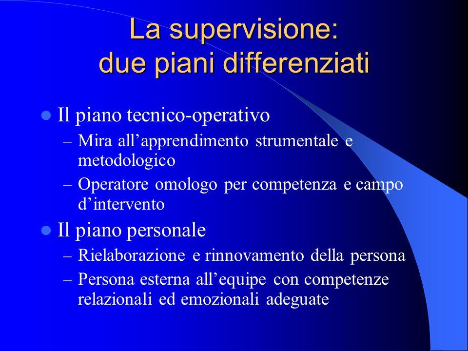 La supervisione: due piani differenziati