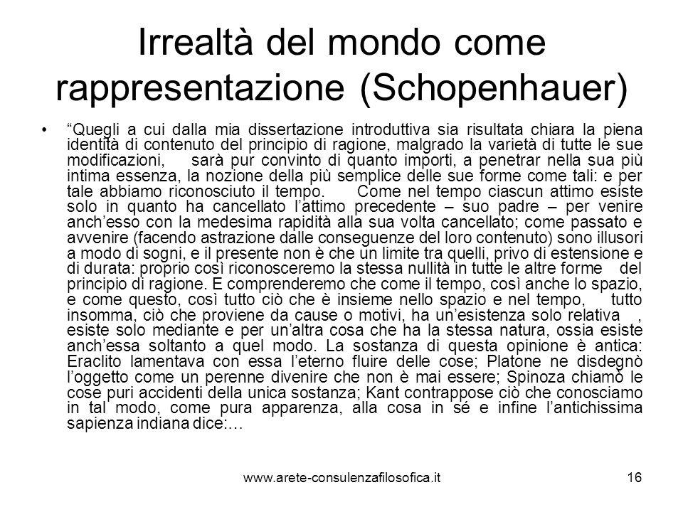 Irrealtà del mondo come rappresentazione (Schopenhauer)