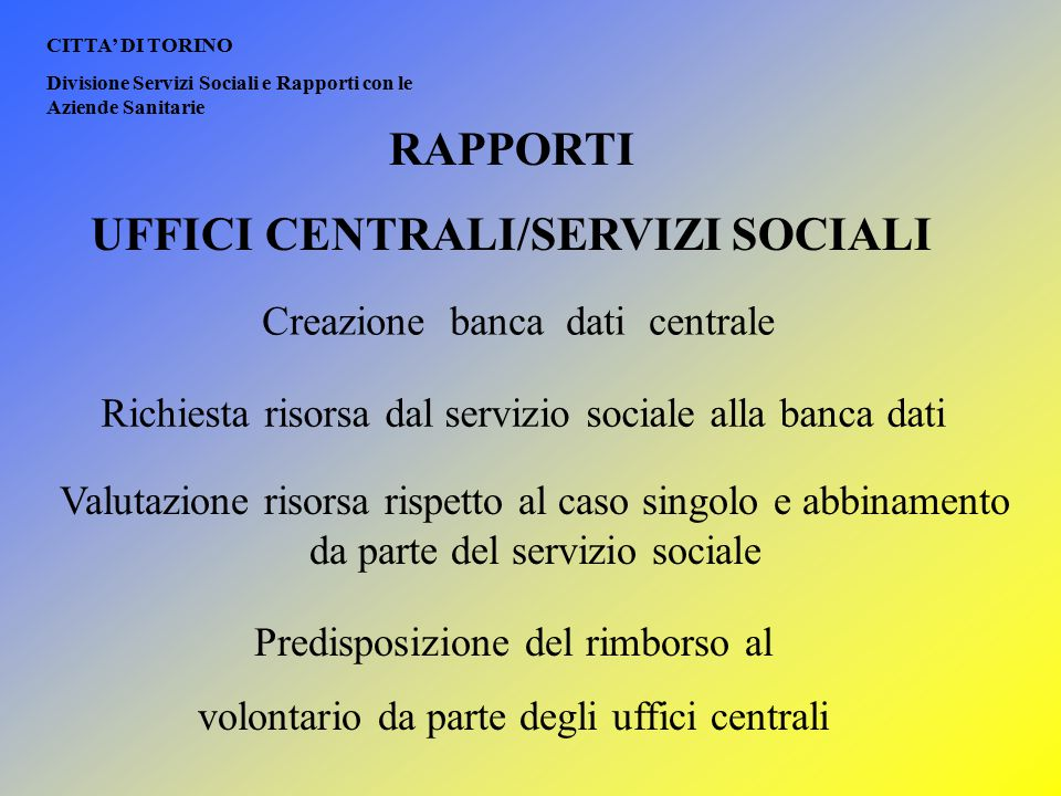 UFFICI CENTRALI/SERVIZI SOCIALI