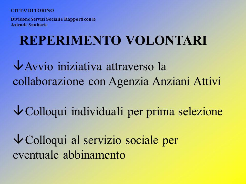 REPERIMENTO VOLONTARI