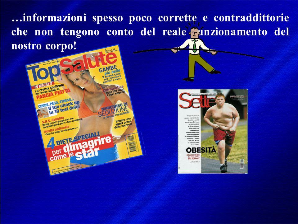 …informazioni spesso poco corrette e contraddittorie che non tengono conto del reale funzionamento del nostro corpo!