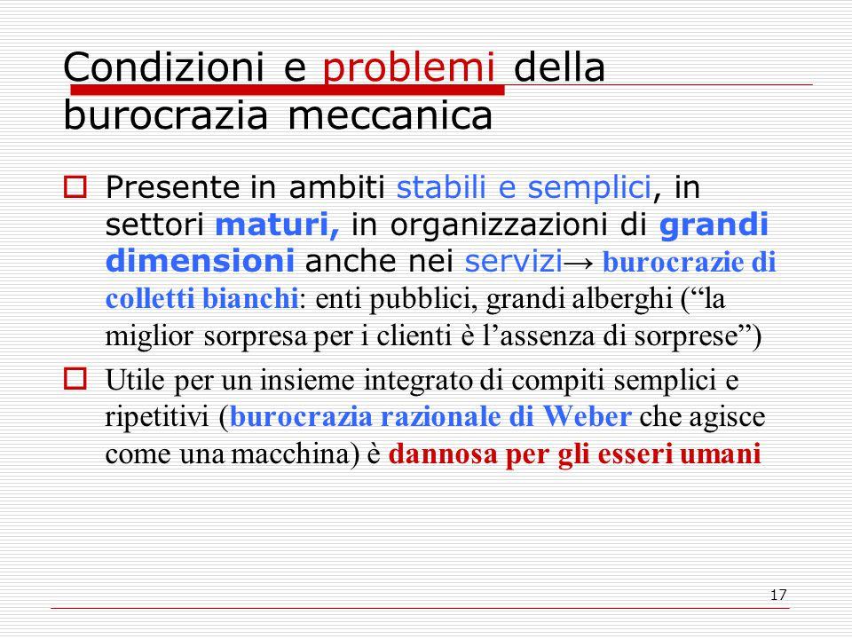 Condizioni e problemi della burocrazia meccanica
