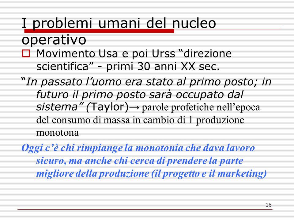 I problemi umani del nucleo operativo