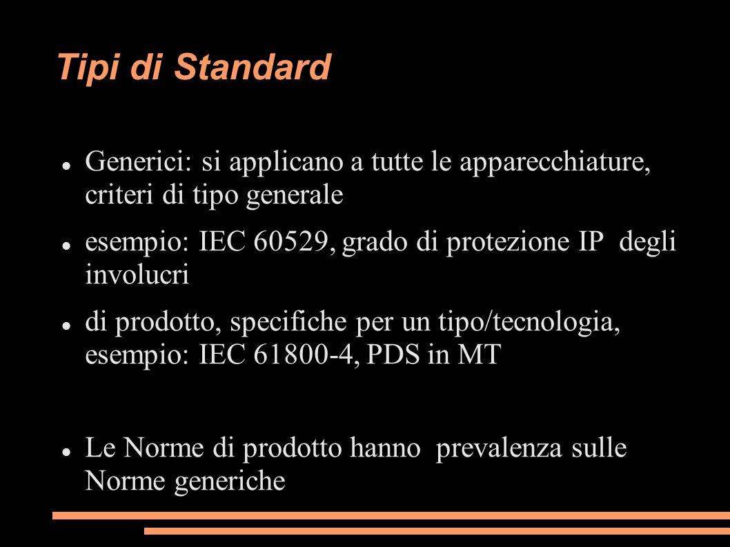 Tipi di Standard Generici: si applicano a tutte le apparecchiature, criteri di tipo generale.