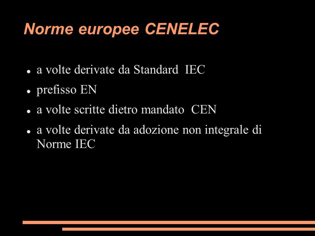 Norme europee CENELEC a volte derivate da Standard IEC prefisso EN