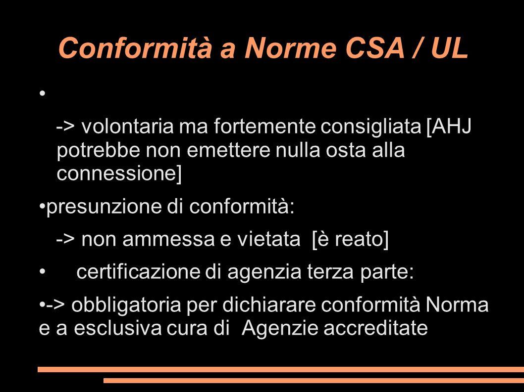 Conformità a Norme CSA / UL