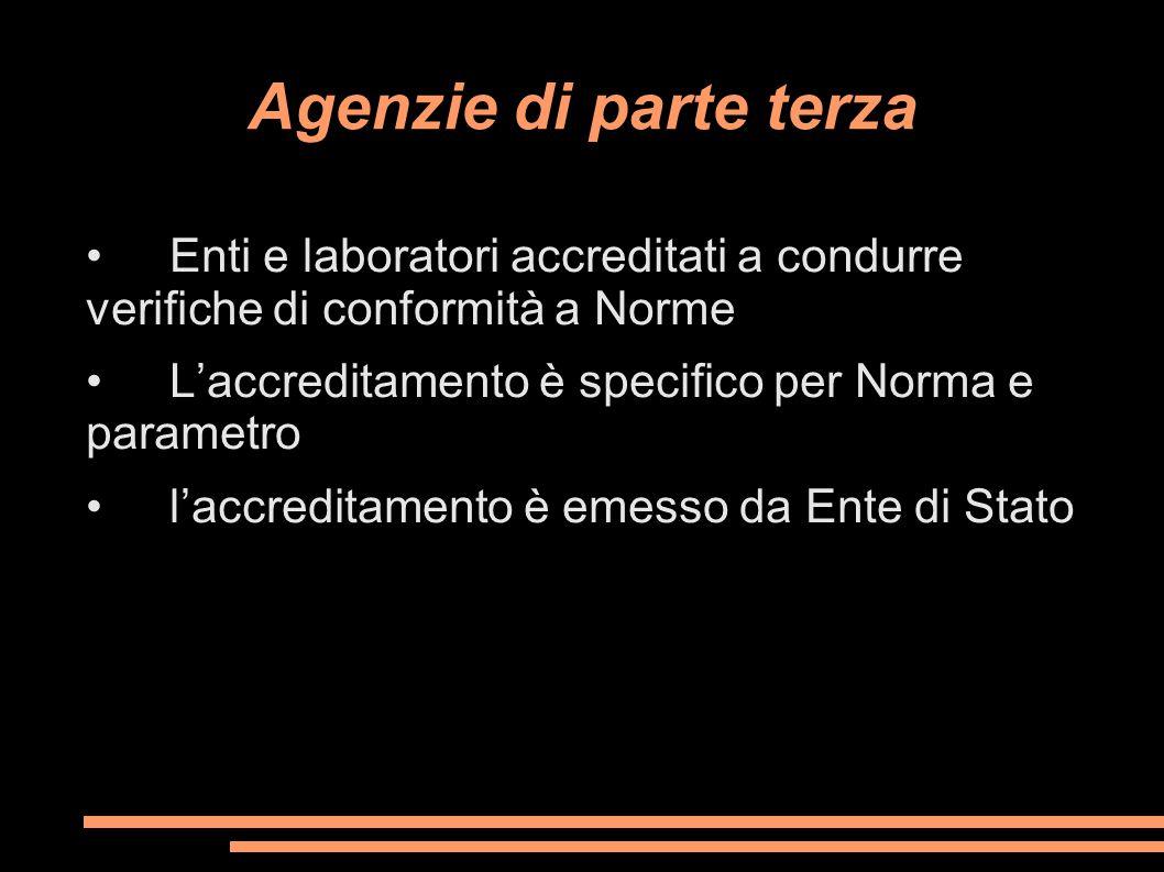 Agenzie di parte terza • Enti e laboratori accreditati a condurre verifiche di conformità a Norme.