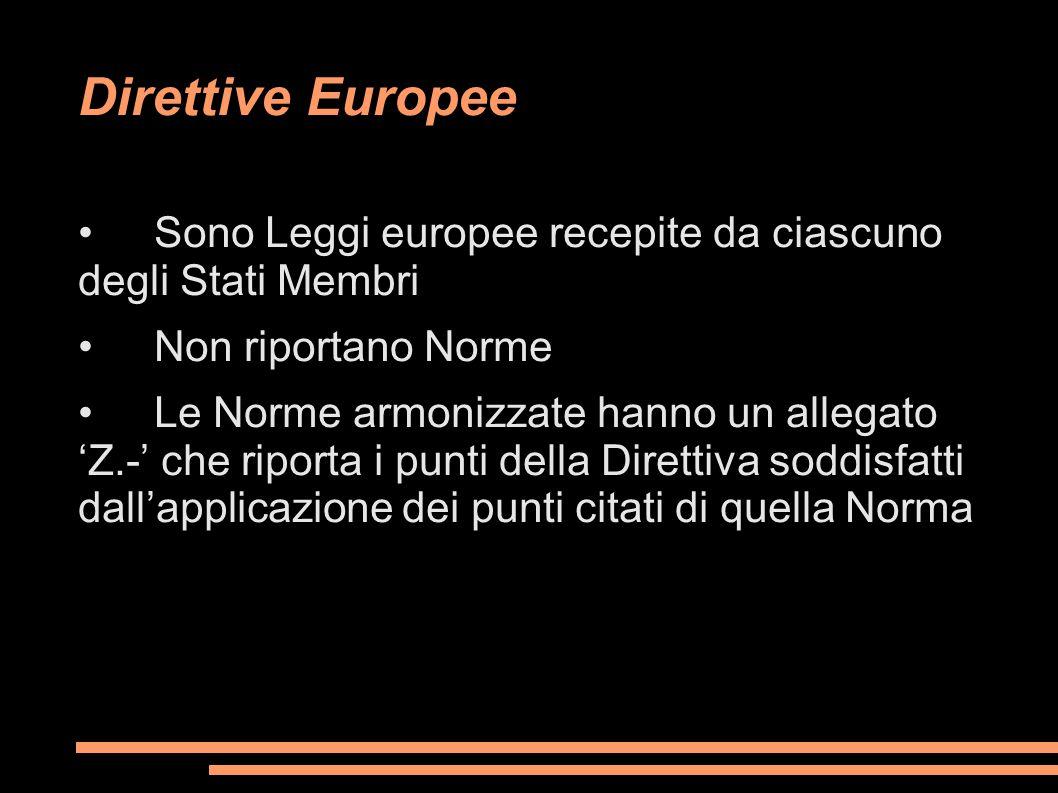 Direttive Europee • Sono Leggi europee recepite da ciascuno degli Stati Membri. • Non riportano Norme.