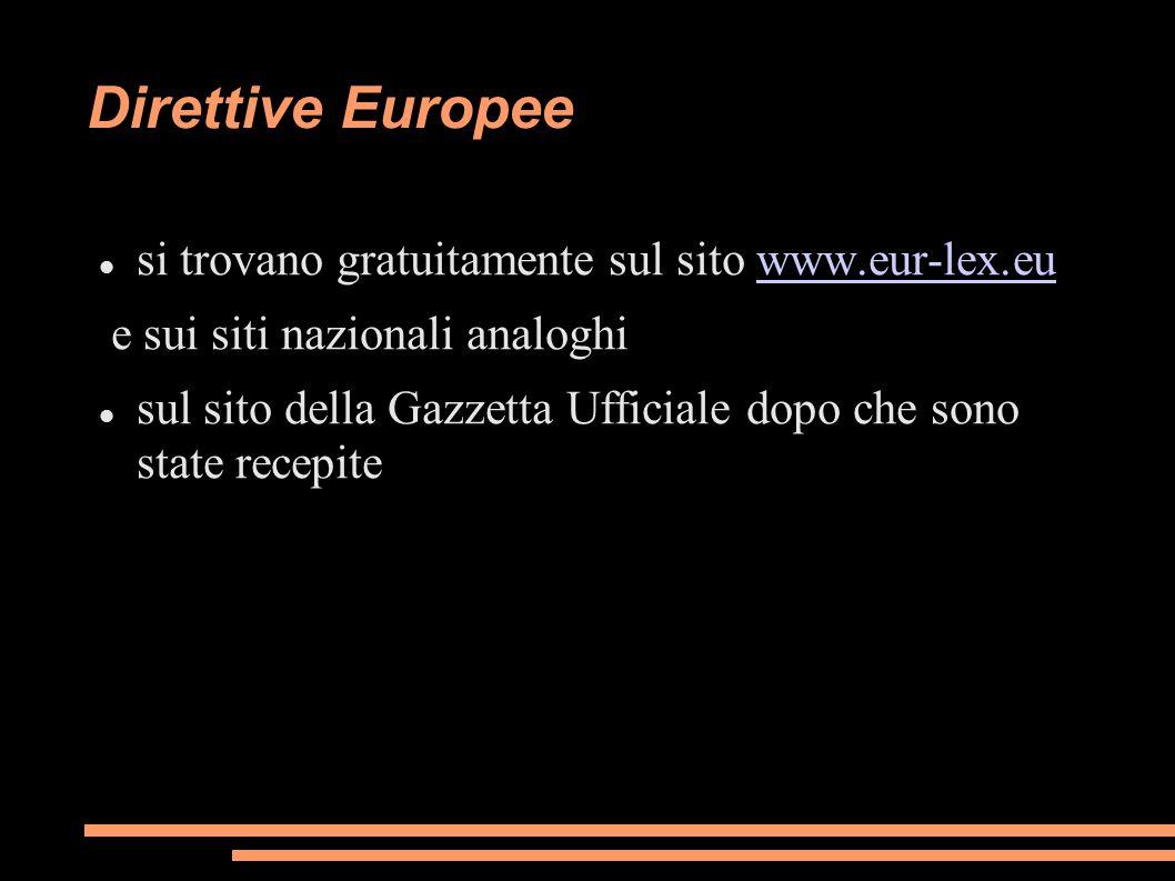 Direttive Europee si trovano gratuitamente sul sito www.eur-lex.eu