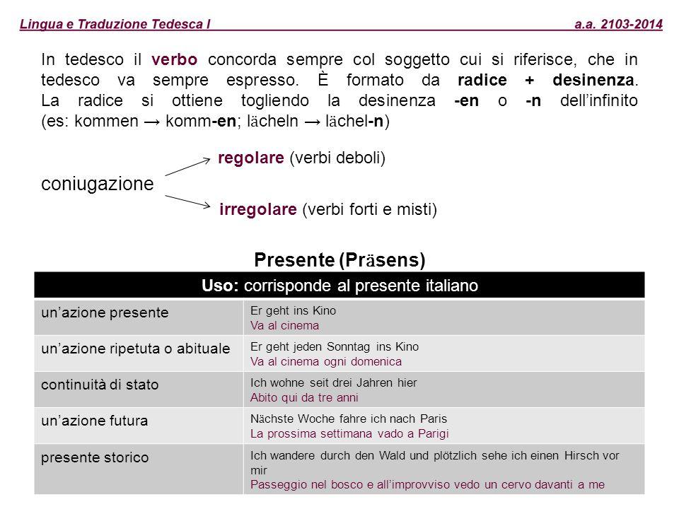 Uso: corrisponde al presente italiano