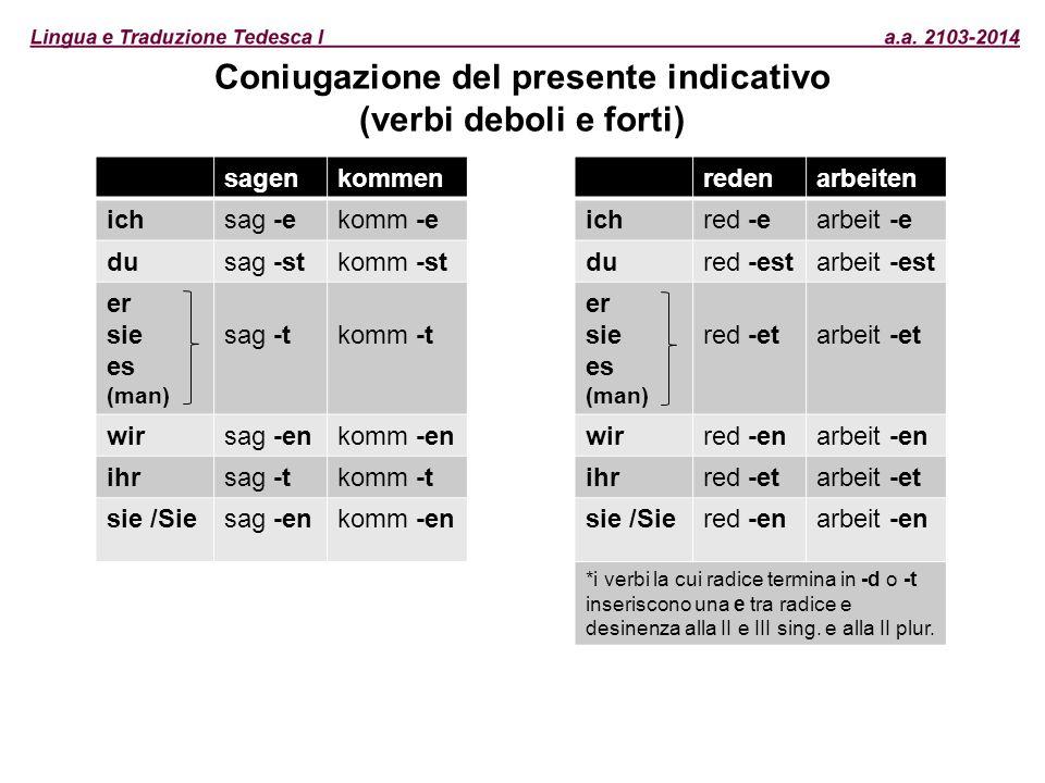 Coniugazione del presente indicativo (verbi deboli e forti)