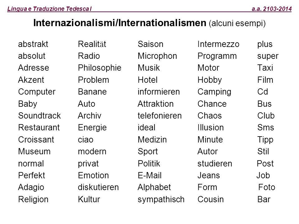 Lingua e Traduzione Tedesca I a.a. 2103-2014