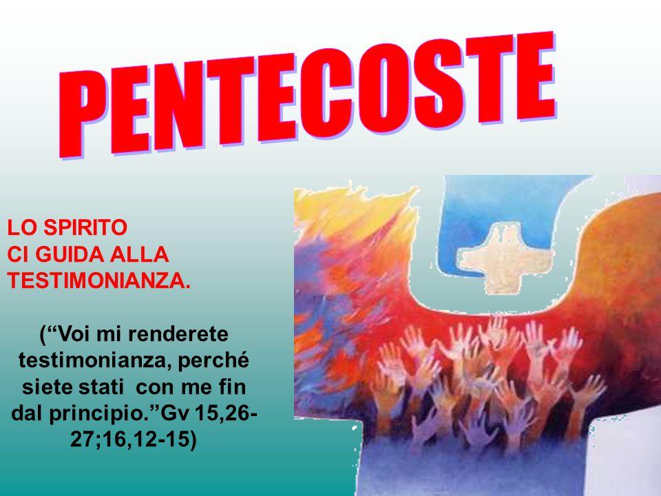 PENTECOSTE LO SPIRITO CI GUIDA ALLA TESTIMONIANZA.
