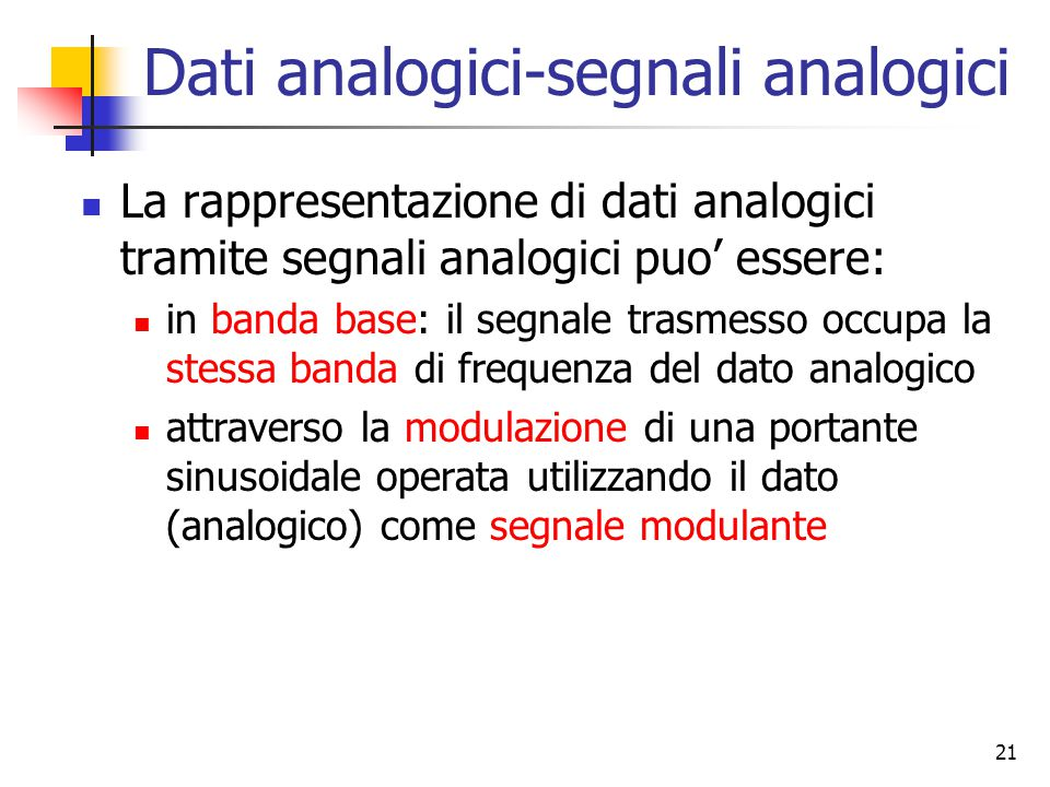 Dati analogici-segnali analogici