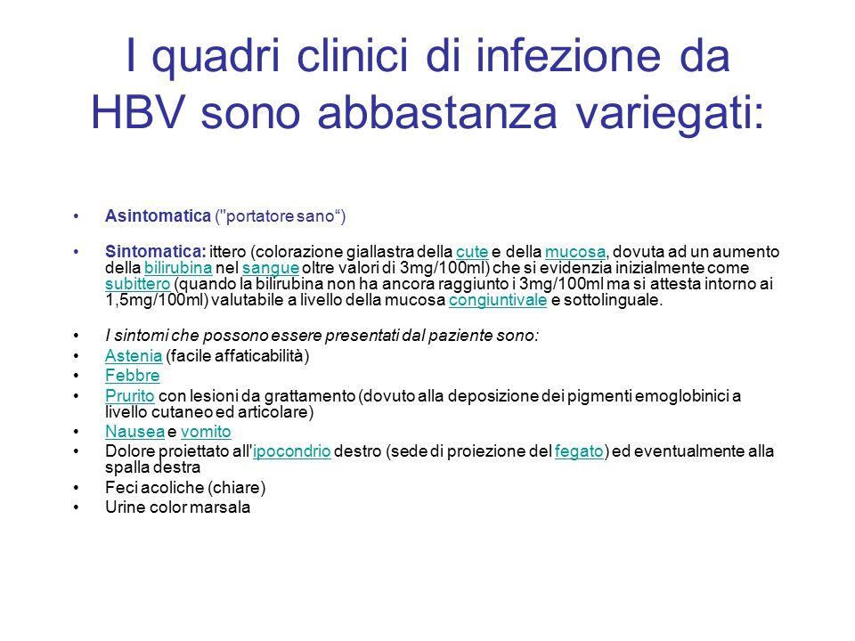 I quadri clinici di infezione da HBV sono abbastanza variegati: