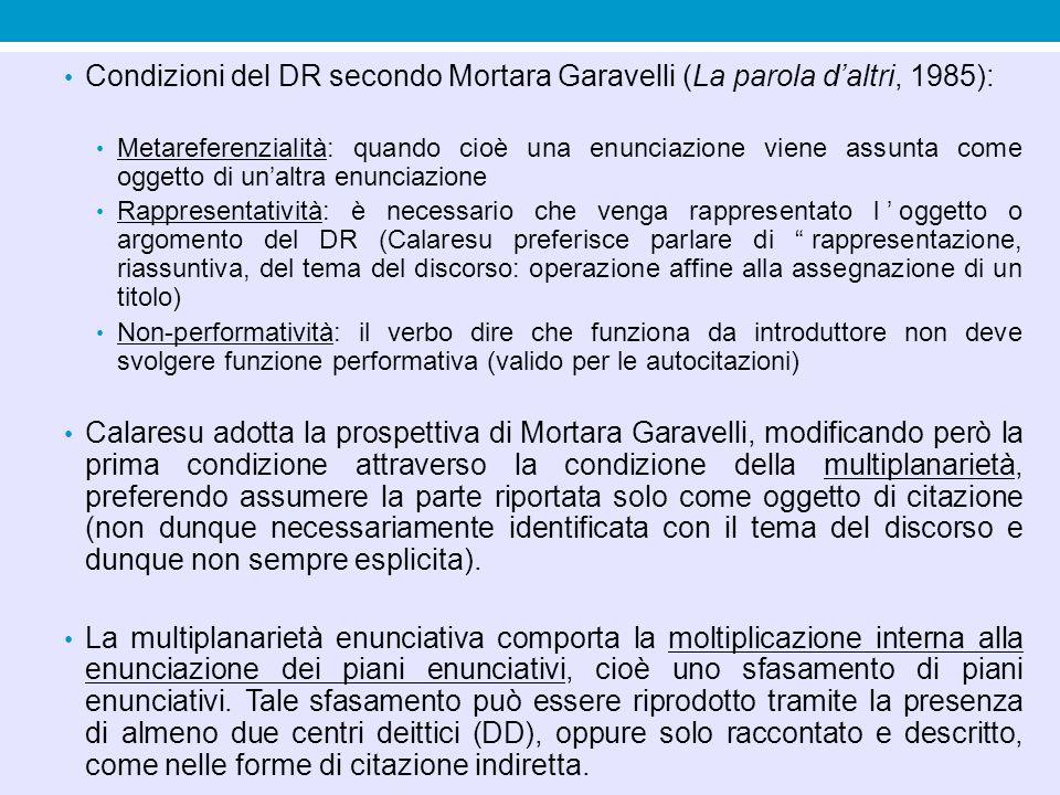 Condizioni del DR secondo Mortara Garavelli (La parola d'altri, 1985):