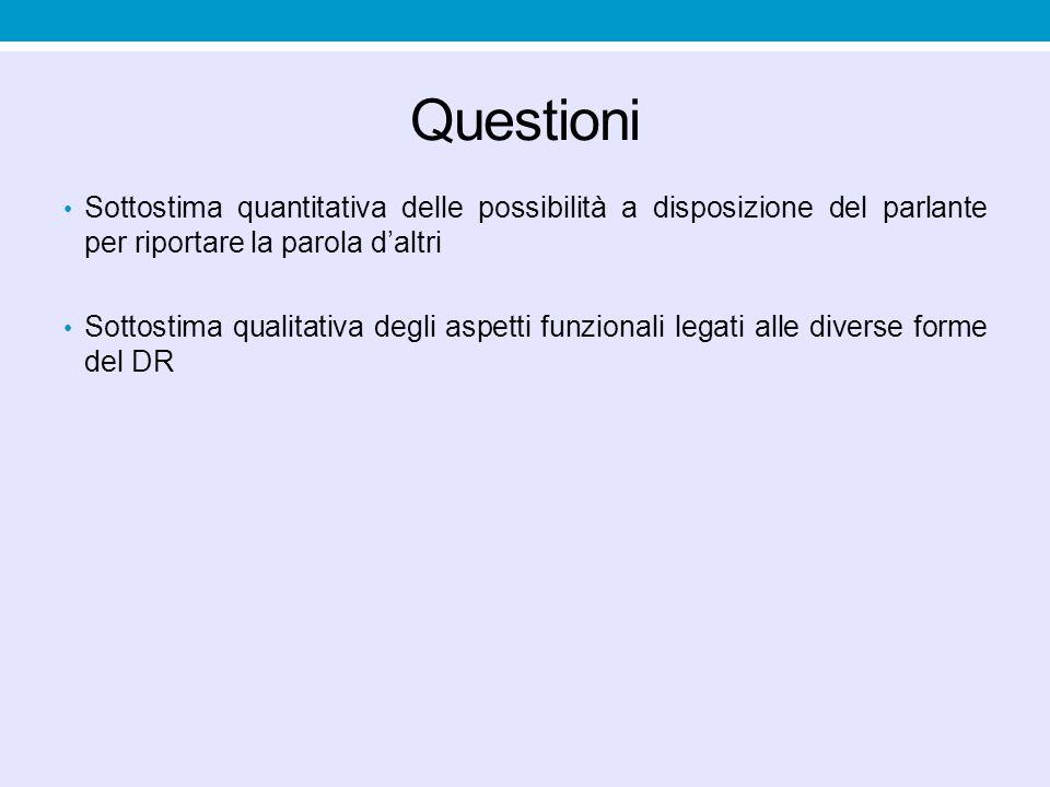 Questioni Sottostima quantitativa delle possibilità a disposizione del parlante per riportare la parola d'altri.