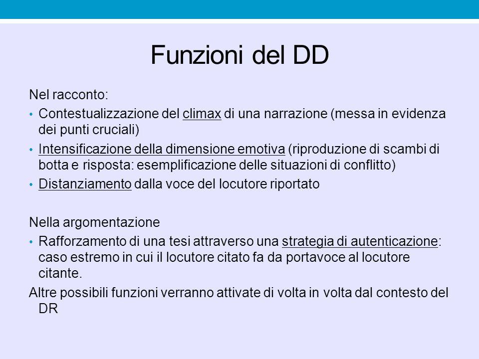 Funzioni del DD Nel racconto: