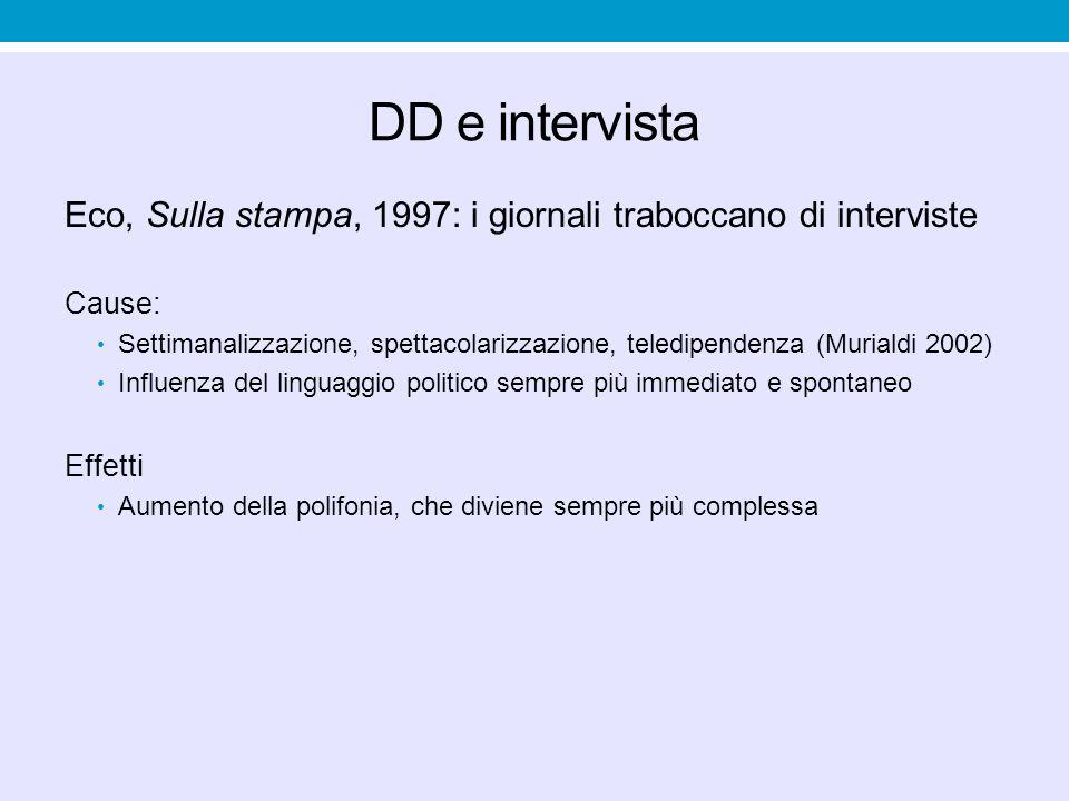 DD e intervista Eco, Sulla stampa, 1997: i giornali traboccano di interviste. Cause: