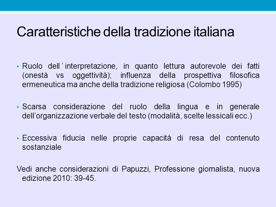Caratteristiche della tradizione italiana